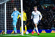 Leeds United forward Patrick Bamford (9) scores a goal and celebrates to make the score 3-2 during the EFL Sky Bet Championship match between Leeds United and Millwall at Elland Road, Leeds, England on 28 January 2020.