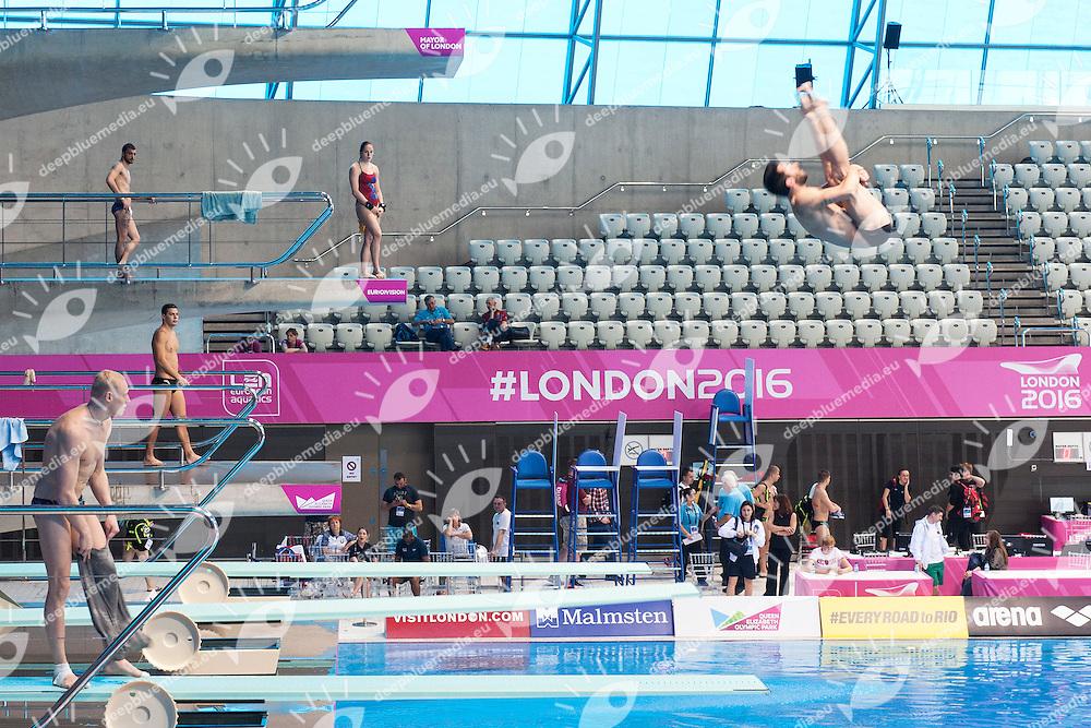 Diving training<br /> London, Queen Elizabeth II Olympic Park Pool <br /> LEN 2016 European Aquatics Elite Championships <br /> Diving  <br /> Day 00 20160508<br /> Photo Andrea Staccioli/Deepbluemedia/Insidefoto