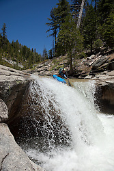 """Kayaker on Silver Creek 15"" - This kayaker was photographed on Silver Creek - South Fork, near Icehouse Reservoir, CA."