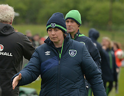 Republic of Ireland U16 Coach Sharon Boyle after their win over Northern Ireland.<br />Pic Conor McKeown