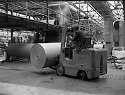 05/09/1961<br /> 09/05/1961<br /> 05 September 1961<br /> Special for Blackwood Hodge lifting machinery. Forklift moving rolls of of paper at the Killeen Paper Mills, Ballyfermot, Dublin.