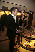 Pierre Ladoux and Tara Bafna-Louis, THE CHRISTMAS PARTY CELEBRATING THE 225TH ANNIVERSARY OF ASPREY. 167 NEW BOND ST. LONDON W1. 7 DECEMBER 2006. ONE TIME USE ONLY - DO NOT ARCHIVE  © Copyright Photograph by Dafydd Jones 248 CLAPHAM PARK RD. LONDON SW90PZ.  Tel 020 7733 0108 www.dafjones.com
