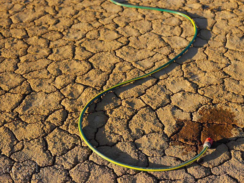Garden hose on dry earth
