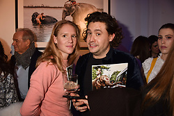 Lara Boglione and Adam Waymouth at Mark Shand's Adventures and His Cabinet Of Curiosities VIP private view, 32 Portland Place, London, England. 20 February 2018.