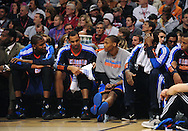 Feb. 4, 2011; Phoenix, AZ, USA; Oklahoma City Thunder forward Kevin Durant (left) , guard Thabo Sefolosha, and guard Russell Westbrook react on the bench against the Phoenix Suns at the US Airways Center. Mandatory Credit: Jennifer Stewart-US PRESSWIRE