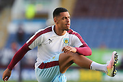 Andre Gray of Burnley warming up before the Sky Bet Championship match between Burnley and Middlesbrough at Turf Moor, Burnley, England on 19 April 2016. Photo by Simon Brady.