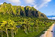 Aerial photograph of Kualoa, Kaneohe Bay, Windward Oahu, Hawaii