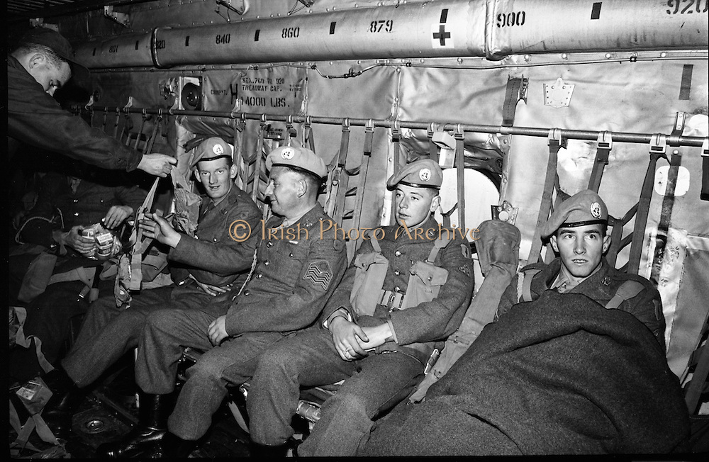 Irish Army troops on their way to Cyprus to serve with the UN peacekeeping force..13.10.1964