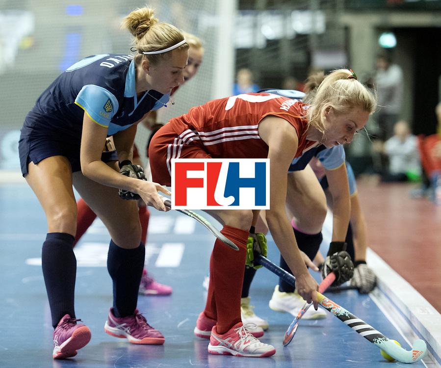 BERLIN - Indoor Hockey World Cup<br /> Bronze: Ukraine - Belarus<br /> foto: Sviatlana Bahushevich and Maryna Khilko <br /> WORLDSPORTPICS COPYRIGHT FRANK UIJLENBROEK