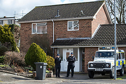© Licensed to London News Pictures. 06/03/2018. Salisbury, UK. Police remain on guard at the house of former Russian spy Sergei Skripal in Salisbury, Wiltshire after he and his daughter were taken ill with suspected poisoning. The couple where found unconscious on bench in Salisbury shopping centre. Specialist units have been called in to deal with any possible contamination. Photo credit: Peter Macdiarmid/LNP