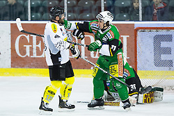 29.01.2013, Hala Tivoli, Ljubljana, SLO, EBEL, HDD Telemach Olimpija Ljubljana vs Dornbirner Eishockey Club, 4. Qualifikationsrunde, in picture Fighting between Ziga Grahut (HDD Telemach Olimpija, #11) and Nicolas Petrik (Dornbirner Eishockey Club, #12) during the Erste Bank Icehockey League 2nd Qualification Round match between HDD Telemach Olimpija Ljubljana and Dornbirner Eishockey Club at the Hala Tivoli, Ljubljana, Slovenia on 2013/01/29. (Photo By Matic Klansek Velej / Sportida)