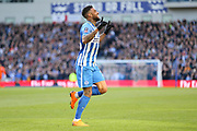 Brighton and Hove Albion striker Jurgen Locadia (25) celebrates his goal 1-0 during the The FA Cup match between Brighton and Hove Albion and Coventry City at the American Express Community Stadium, Brighton and Hove, England on 17 February 2018. Picture by Phil Duncan.