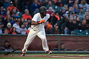 San Francisco Giants center fielder Denard Span (2) runs to first base after a hit against the Colorado Rockies at AT&T Park in San Francisco, California, on April 14, 2017. (Stan Olszewski/Special to S.F. Examiner)