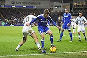 Craig Noone of Cardiff City holds off Jack Grealish of Aston Villa during the EFL Sky Bet Championship match between Cardiff City and Aston Villa at the Cardiff City Stadium, Cardiff, Wales on 2 January 2017. Photo by Andrew Lewis.