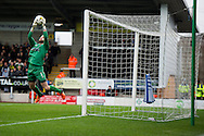 Joel Coleman of Oldham Athletic AFC makes a save during the Sky Bet League 1 match between Burton Albion and Oldham Athletic at the Pirelli Stadium, Burton upon Trent, England on 26 March 2016. Photo by Brandon Griffiths.