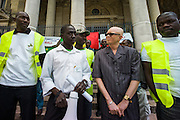 Belgium, Brussels, 2012-06-23. Members of the Brussels A manifestation  for a secular and democratic Mali. Speeches at the manifestation, organized by the Collective of Malians in Belgium, were by Drissa Kanambaye, President of the Collective, representatives for the Mauritanian and Guinean communities and the Radical Party leader Marco Pannella.
