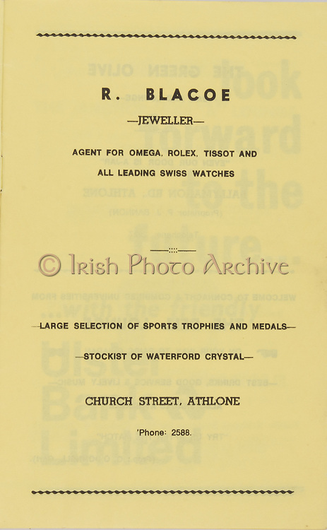 Railway Cup Football Final Replay Programme.Connacht v Universities.St Ciarans Park, Athlone.23.04.1973.23rd April 1973
