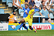 Peterborough no 7 Jermaine Anderson battles for the ball in the  Friendly match between Peterborough United and Leeds United at London Road, Peterborough, England on 23 July 2016. Photo by Nigel Cole.