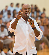 Former NFL receiver Jerry Rice talks with students at Scarborough High School, September 9, 2014.