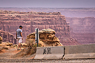 Anti pipeline graffiti at the top of Moki Dugway, a dirt road that winds up from the Valley of the Gods to the mesa top Bears Ears National Monument. The parks status is in limbo after President Trump revoked it.