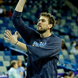 October 9, 2010; New Orleans, LA, USA; Memphis Grizzlies center Marc Gasol shoots during warm ups prior to tipoff of a game against the New Orleans Hornets at the New Orleans Arena. Mandatory Credit: Derick E. Hingle