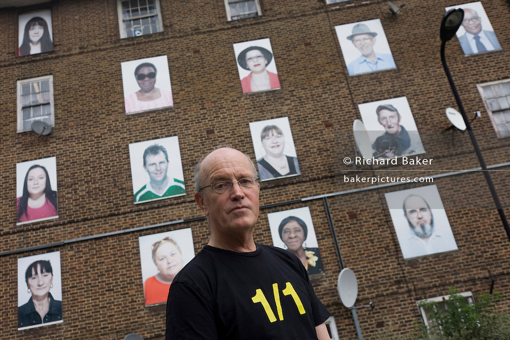 English author/writer Ian Sinclair in his native Hackney, the location for many of his dystopian views on East London. The condemned housing is in Dalston/Hackney whose former residents are celebrated in a series of portraits before their demolition.
