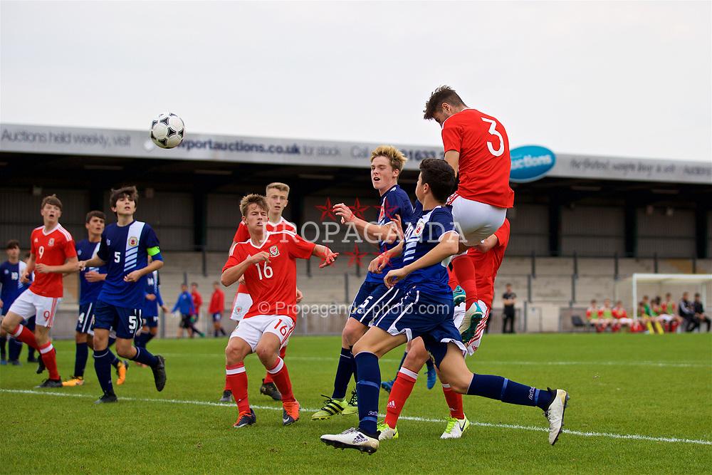 NEWPORT, WALES - Sunday, September 24, 2017: Wales' Luke Motruk during an Under-16 International friendly match between Wales and Gibraltar at the Newport Stadium. (Pic by David Rawcliffe/Propaganda)