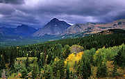 East side of Glacier National Park from the Blackfeet Reservation. North of East Glacier, Montana
