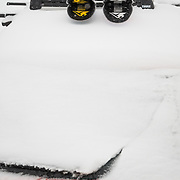 Two pairs of Wagner Custom Skis on the roof of Tyler Hatcher's Audi Quattro in the Mount Baker Ski Area Parking Lot.