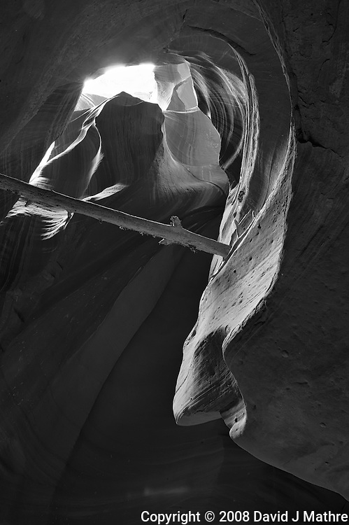 Upper Antelope Canyon, Page Arizona. Image taken with a Nikon D3 camera and 24-70 mm f/2.8 lens (ISO 200, 24 mm, f/16, 3 sec). Image processed with Capture One Pro. Converted to B&W with NIK Silver Efex Pro 2