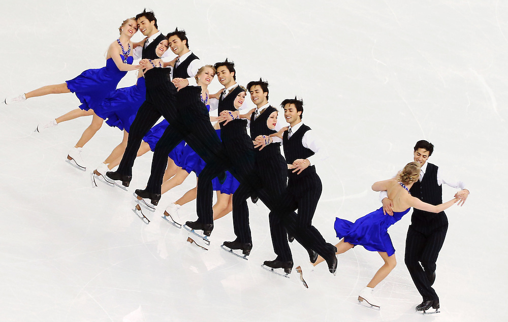 Kaitlyn Weaver and Andrew Poje of Canada perform during the Figure Skating Ice Dance Short Dance event at the Iceberg Palace during the Sochi 2014 Olympic Games in Sochi, Russia,16 February 2014.