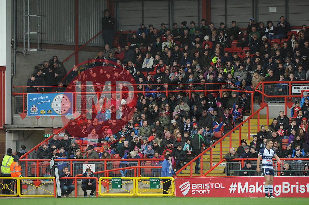 Bristol Rugby fans watch from the Atyeo stand Stand - Photo mandatory by-line: Dougie Allward/JMP - Mobile: 07966 386802 - 29/03/2015 - SPORT - Rugby - Bristol - Ashton Gate - Bristol Rugby v Bedford Blues - Greene King IPA Championship