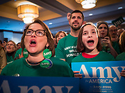 03 FEBRUARY 2020 - DES MOINES, IOWA: People cheer for Sen Amy Klobuchar during Sen. Klobuchar's caucus night party at the downtown Marriott Hotel in Des Moines. The party was her last Iowa appearance of the primary season. Iowans made the first presidential selection picks of the 2020 election campaign with the Iowa caucuses Monday night.      PHOTO BY JACK KURTZ