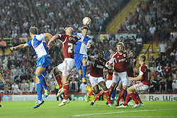 Bristol Rovers' Tom Parkes heads the ball towards goal  - Photo mandatory by-line: Dougie Allward/JMP - Tel: Mobile: 07966 386802 04/09/2013 - SPORT - FOOTBALL -  Ashton Gate - Bristol - Bristol City V Bristol Rovers - Johnstone Paint Trophy - First Round - Bristol Derby