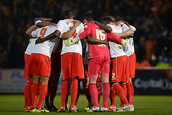 Stevenage group circle before the match  - Photo mandatory by-line: Mitchell Gunn/JMP - Tel: Mobile: 07966 386802 01/04/2014 - SPORT - FOOTBALL - Broadhall Way - Stevenage - Stevenage v Wolverhampton Wanderers - League One