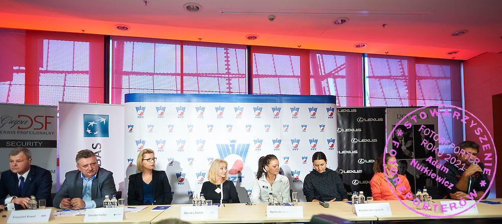 (L-R) Piotr Szkielkowski and Krzysztof Kowal Dorota Haller and Monika Malek and Agnieszka Radwanska and Klauda Jans Ignacik and Alicja Rosolska and Tomasz Wiktorowski during press conference of Polish Tennis Association before Fed Cup match at National Stadium in Warsaw, Poland.<br /> <br /> Poland, Warsaw, December 15, 2014<br /> <br /> Picture also available in RAW (NEF) or TIFF format on special request.<br /> <br /> For editorial use only. Any commercial or promotional use requires permission.<br /> <br /> Mandatory credit:<br /> Photo by &copy; Adam Nurkiewicz / Mediasport