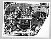 Merchant and his clerk using a calculating table built as a form of abacus.  Vignette from a multiplication table published in 1630. Copperplate engraving.