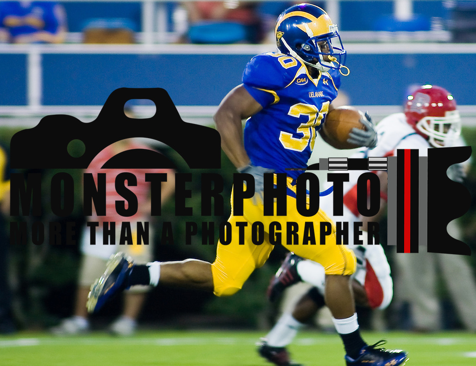 Delaware RB (#30) Andrew Pierce in the 3rd quarter. Pierce setting a University of Delaware rookie record with 200 yards and two touchdowns at Delaware Stadium in Newark Delaware. Delaware defeated Duquesne 30-6