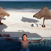 Brian Gay, past champion at the PGA tour's Mayakoba Golf Classic at Riviera Maya-Cancun. As defending champion, Gay was provided a Caribbean  Sea beach front casita equipped with it's own infinity pool.