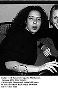 Dalia Fayed. Furstenberg party. Manhattan. January. 1994. Film 9426f20<br />