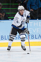 KELOWNA, CANADA - SEPTEMBER 28:  Brandon Magee #18 of the Victoria Royals skates with the puck  at the Kelowna Rockets on September 28, 2013 at Prospera Place in Kelowna, British Columbia, Canada (Photo by Marissa Baecker/Shoot the Breeze) *** Local Caption ***