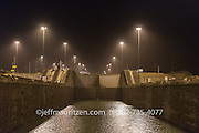 The Gatun locks in the Panama Canal at nighttime.