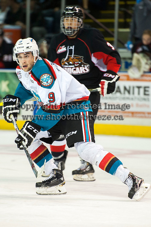 KELOWNA, CANADA - SEPTEMBER 5: Tanner Wishnowski #9 of Kelowna Rockets skates against the Prince George Cougars on September 5, 2015 during the first pre-season game at Prospera Place in Kelowna, British Columbia, Canada.  (Photo by Marissa Baecker/Shoot the Breeze)  *** Local Caption *** Tanner Wishnowski;