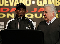 Jan 21, 2010; New York, NY; USA; Rogers Mtagwa speaks at the press conference for his fight against Yuriokis Gamboa.