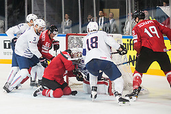 Jonathan Janil of France, Ramon Untersander of Switzerland, Thomas Rufenacht of Switzerland, Cristobal Huet of France, Yohann Auvitu of France  during the 2017 IIHF Men's World Championship group B Ice hockey match between National Teams of Switzerland and France, on May 9, 2017 in Accorhotels Arena in Paris, France. Photo by Vid Ponikvar / Sportida