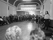 """""""These Obstreperous Lassies"""" Book Launch.  (R93)..1988..15.12.1988..12.15.1988..15th December 1988..A book which chronicles an important aspect of Irish social history was launched in Larkin Hall. """"These Obstreperous Lassies"""" written and researched by Mary Jones, details the seventy three years of the Irish Women Workers Union and of the women who were involved in the union..With Countess Markievicz as its first president, The Union began the fight for equal pay and fair treatment under the leadership of women like helen Chenevix, Louise Bennett and Helena Molloy. They fought for the rights of vulnerable workers such as Laundresses,print workers,box makers,nurses and dressmakers..The Author, Mary Jones, is a full time researcher specialising in Women and Work...Image shows the Author of """"These Obstreperous Lassies""""speaking about her book at its launch in Larkin Hall,Parnell Square,Dublin."""