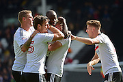 Fulham FC defender Tim Ream (13) celebrates his equaliser 1-1 during the EFL Sky Bet Championship match between Fulham and Queens Park Rangers at Craven Cottage, London, England on 1 October 2016. Photo by Jon Bromley.