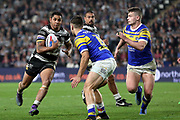 Hull FC half back Albert Kelly (6) attacking  during the Betfred Super League match between Hull FC and Leeds Rhinos at Kingston Communications Stadium, Hull, United Kingdom on 19 April 2018. Picture by Mick Atkins.