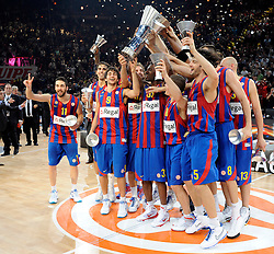 The Regal FC Barcelona team celebrate during the 2009-2010 Euroleague Basketball Champion Awards Ceremony at Bercy Arena on May 9, 2010 in Palais Omnisport de Paris Bercy, Paris, France. (Photo by Nebojsa Parausic / Sportida)