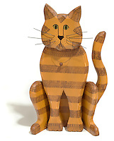striped painted wooden cat
